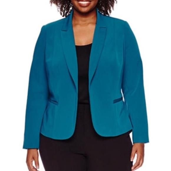 40e7bca85e5 Worthington Plus Size Teal Blazer Jacket